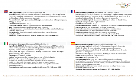 Glucosamine 500mg Chondroitin 400mg 100 Capsules