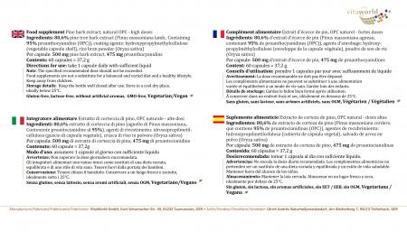 Pine Bark Extract 500 mg High Dose OPC 60 Capsules Vegan/Vegetarian