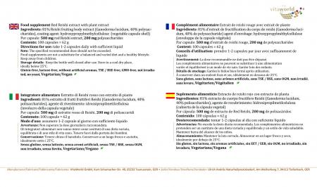 Premium Roter Reishi Extrakt 500mg 40% Polysaccharide 100 Kapseln VEGAN/VEGETARISCH