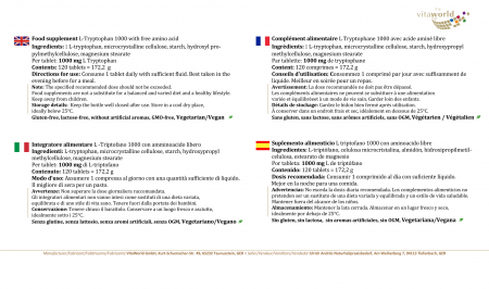 L-Tryptophane 1000 mg DOSAGE ÉLEVÉ 120 Comprimés Végétalien/Végétarien - Un seul comprimé par jour