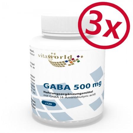 Pack di 3 GABA 500mg 3 x 120 Capsule (Acido Gamma Amino Butirrico)