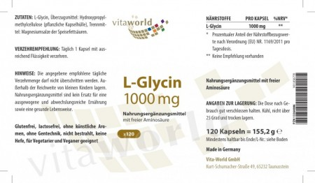 L-Glycine 1000mg 120 capsules