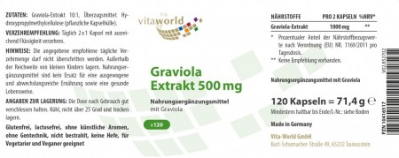 Graviola Extrakt 10:1 1000 mg Tagesdosis 120 Kapseln