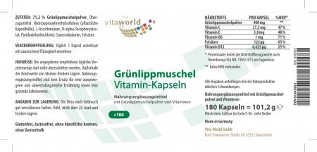 Grünlippmuschel 400mg + Vitamine 180 Kapseln