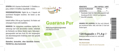 Guarana Pur 500mg 120 Kapseln