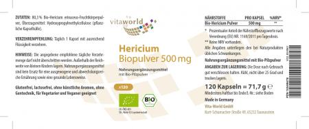 Hericium Organic Powder 500mg 120 Capsules