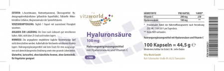 Hyaluronsäure 100mg 100 Kapseln Vegetarisch
