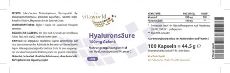 Hyaluron Säure 100mg Gelenk 100 Kapseln Vegetarisch/Vegan