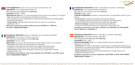 Inositolo + Acido Folico 800 mcg 200 g di Polvere Vegetariano/Vegano