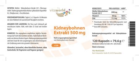Kidney Bean Extract 500 mg 120 Capsules Vegetarian/Vegan