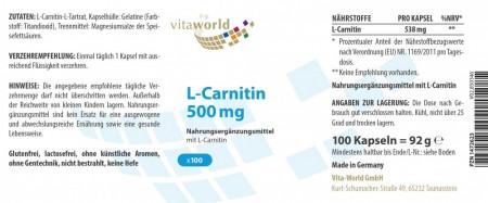 L-Carnitine 500mg 100 Capsules