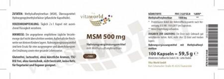 MSM 500mg 100 Kapseln Vegetarisch/Vegan