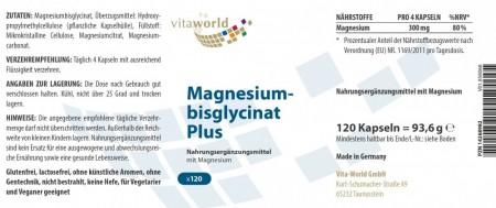 Magnesium Bisglycinate Plus 120 Capsules Vegetarian/Vegan