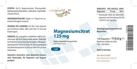 Magnesiumcitrat 125 mg 120 Kapseln Vegetarisch/Vegan