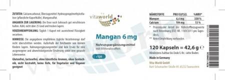 Manganese con Minerali 6 mg 120 Capsule Vegetariano/Vegano
