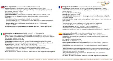 Pack de 3 Menaquinone Vitamine K2 MK7 3 x 60 Capsules Végétarien/Végétalien