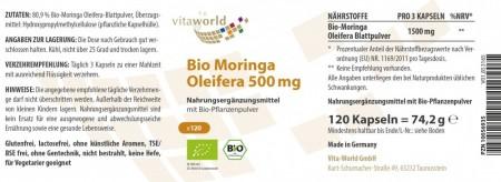 3er Pack Moringa Oleifera 500mg 3 x 120 Vegetarisch/Vegan