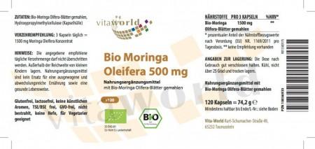 Moringa Oleifera Bio 500mg 120 Kapseln Vegetarisch/Vegan