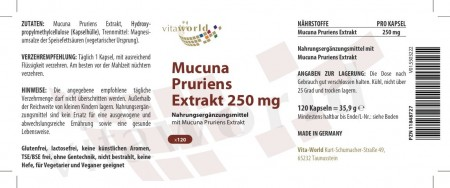 Discount 6+1 Mucuna Pruriens extract Velvet Bean Bengal Bean Florida Bean 500mg 7 x 120 Capsules Vegetarian / Vegan