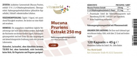 Mucuna Pruriens fagiolo di velluto 250mg 120 Capsule Vegetariano / Vegano