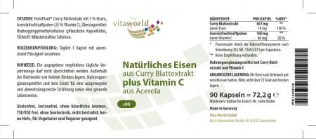 Foglia di curry di ferro naturale più vitamina C + acerola 90 Capsule Vegetariano/Vegano