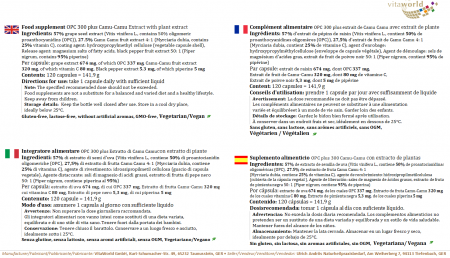 OPC 300 mg + 80 mg Bioperine + vitamina C naturale di da Camu Camu estratto 120 capsule  Vegetariano/Vegano