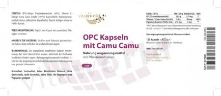 OPC 300mg + Bioperine + 80mg natürliches Vitamin C aus Camu-Camu Extrakt 120 Kapseln Vegetarisch/Vegan