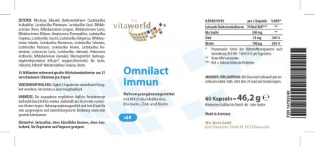 Pack di 3 Omnilact Immun 3 x 60 Capsule Vegano / Vegetariano Lactobacillus - Bifidobacterium