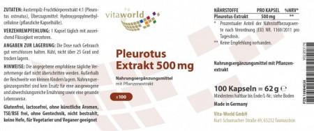Naturalrabatt 6+1 Pleurotus Extrakt 4:1 500mg 7 x 100 Vegi Kapseln