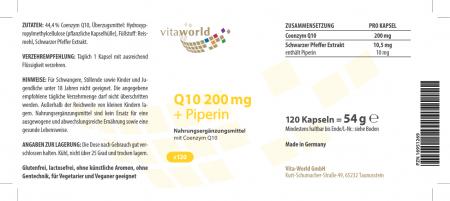 Q10 200 mg + Piperina Q10 100% Natural - Dosis Alta 120 Cápsulas Vegano/Vegetariano