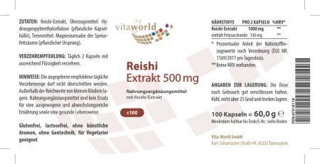 3er Pack Reishi Extrakt 500mg 3 x 100 Kapseln VEGAN/VEGETARISCH