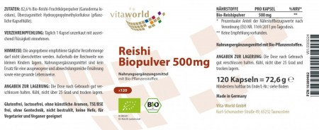 3er Pack Reishi Pulver Bio Qualität 500mg 3 x 120 Kapseln VEGAN/VEGETARISCH