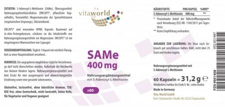 SAMe 400 mg S-Adenosyl-L-Methionin 60 Kapseln VEGAN/VEGETARISCH