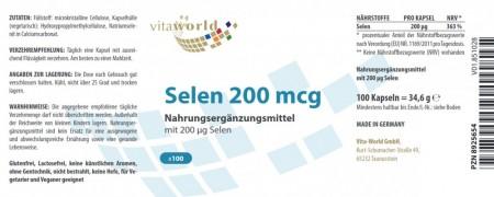 Selen 200mcg 100 Kapseln VEGAN/VEGETARISCH