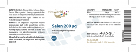 3er Pack Selen 200mcg 3 x 100 Tabletten VEGAN/VEGETARISCH