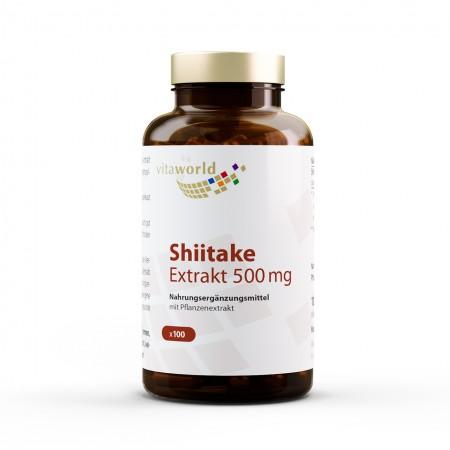 Shiitake Extrakt 500mg 100 Kapseln VEGAN/VEGETARISCH