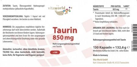 Taurina 850 mg 130 Cápsulas Vegano/Vegetariano
