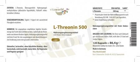 L-Threonin 500 Threonin 120 Kapseln