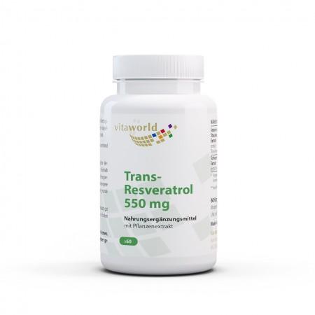 Trans-Resveratrol 550 mg Aus Japanischem Staudenknöterich Extrakt 60 Kapseln Vegan/Vegetarisch