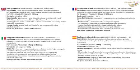 Vitamin D3 2000 I.E. + K2 MK7 200mcg 120 Tabletten