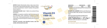Pack de 3 Vitamina D3 1000 UI 3 x 200 Tabletas
