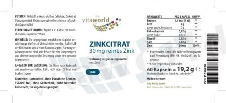 Citrato di Zinco 30 mg 60 Capsule Vegano/Vegetariano