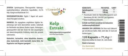 Estratto di Alghe con sostanze vegetali 500mg 120 capsule Vegetariano/Vegano