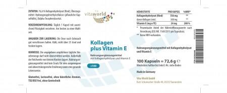 Kollagen 500mg + Vitamin E 24mg 100 Kapseln