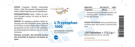 L-Tryptophan 1000 mg HOCHDOSIERT 120 Tabletten Vegan/Vegetarisch Nur 1 Tablette Pro Tag