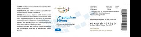 L-Tryptophan 500mg 60 Kapseln Vegan/Vegetarisch