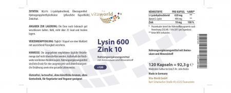 3er Pack Lysin 600 mg plus Zink 10 mg 3 x 120 Kapseln Vegetarisch/Vegan