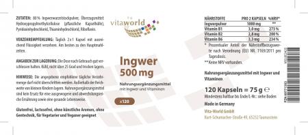 Zenzero 500 mg 120 Capsule Vegetariano/Vegano