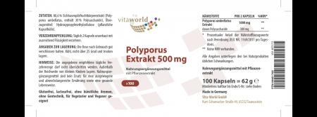 Polyporus Extrakt 500 mg 100 Kapseln Vegan/Vegetarisch