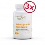 Pack de 3 Ashwagandha Complejo de Raíz de Rosa 3 x 60 Cápsulas VEGANO / VEGETARIANO